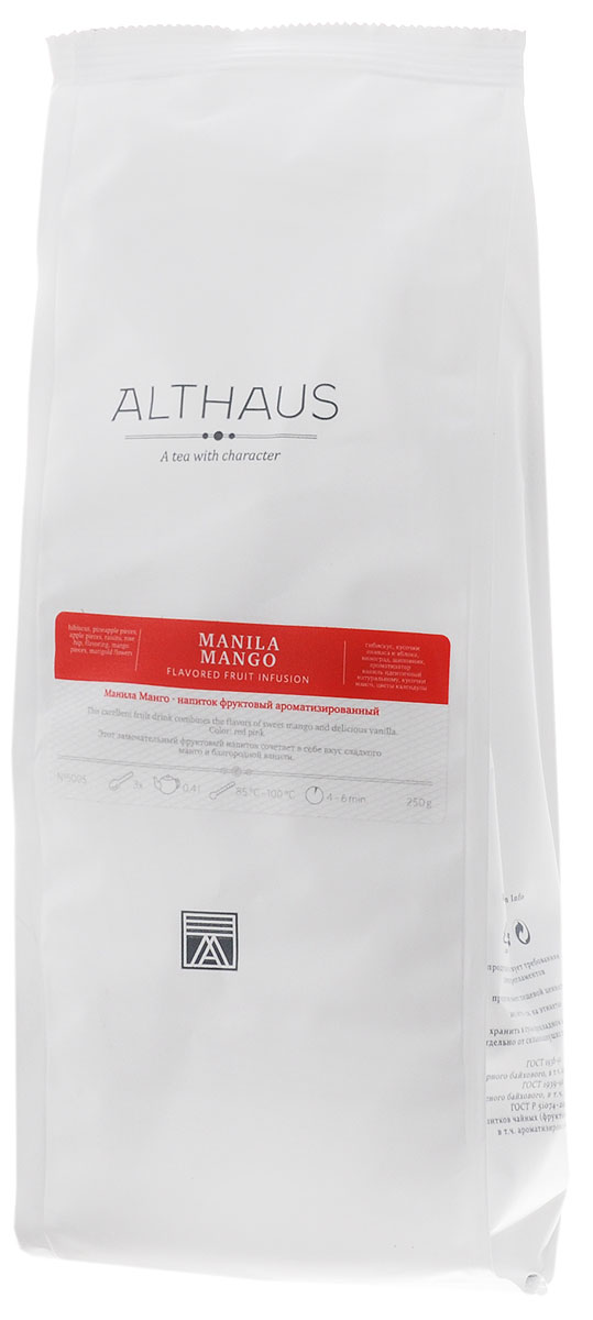 Althaus Manila Mango фруктовый листовой чай, 250 г4791007008569Манила Манго — прекрасный фруктовый напиток с кусочками филиппинского манго и ананаса, наполненный ароматами лета и сладостью благородной ванили. Манило Манго — это знойный южный чай с экспрессивным характером и интересной многогранной палитрой ароматов. Во Время заваривания его яркий приторно-цветочный запах смягчается свежестью тропических фруктов и бархатистыми оттенками спелого шиповника. В букете яблочный аромат с нотами спелого инжира гармонично дополняется воздушными цветочными нюансами, а во вкусе переплетаются легкая сливовая кислинка и освежающая сладость солнечного манго и засахаренного ананаса. Кусочки медового яблока, шиповник, душистая черная смородина и гибискус делают этот напиток не только вкусным, но и полезным для здоровья, способным прекрасно утолить жажду в жаркий летний день. Манила Манго можно пить и в холодном виде со льдом. Температура воды: 85-100 °СВремя заваривания: 4-6 минЦвет в чашке: красно-розовый