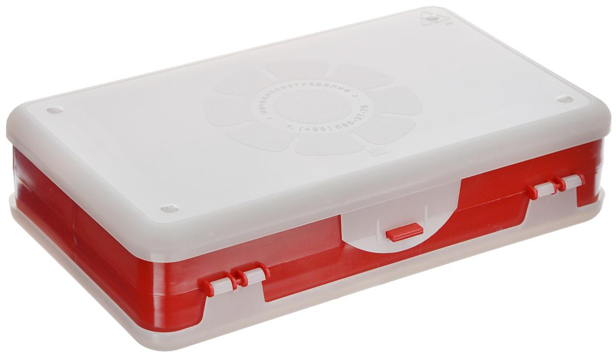 Шкатулка для мелочей Айрис, двухсторонняя, цвет: красный, прозрачный, 21,5 х 12,5 х 5 см. 53375812723Шкатулка для мелочей изготовлена из пластика. Шкатулка двухсторонняя, поэтому в ней можно хранить больше мелочей. Подходит для швейных принадлежностей, рыболовных снастей, мелких деталей и других бытовых мелочей. В одном отделении 4 секции, в другом - 5. Удобный и надежный замок-защелка обеспечивает надежное закрывание крышек. Изделие легко моется и чистится. Такая шкатулка поможет держать вещи в порядке.Размер самой большой секции: 21 х 6 х 2,3 см.Размер самой маленькой секции: 13 х 2,3 х 2,3 см.