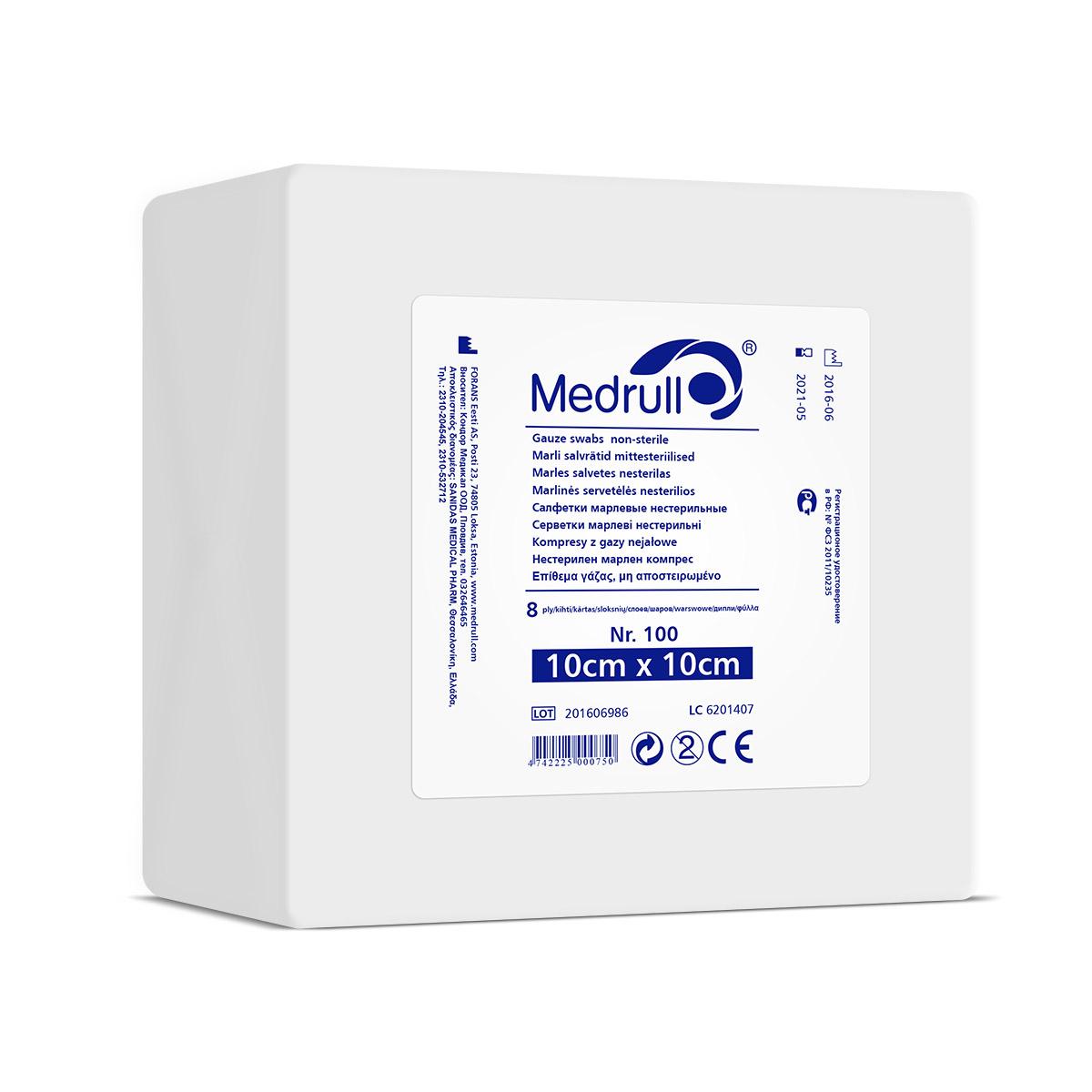 Medrull Салфетки марлевые медицинские N100, 8-слойные, нестерильные, 10х10 см1301210САЛФЕТКИ МАРЛЕВЫЕ НЕСТЕРИЛЬНЫЕ/8 СЛ. NR 100 Состав 100% хлопок. Структура материала 17 ниток/см2. Размер 8 сл 10см x 10см