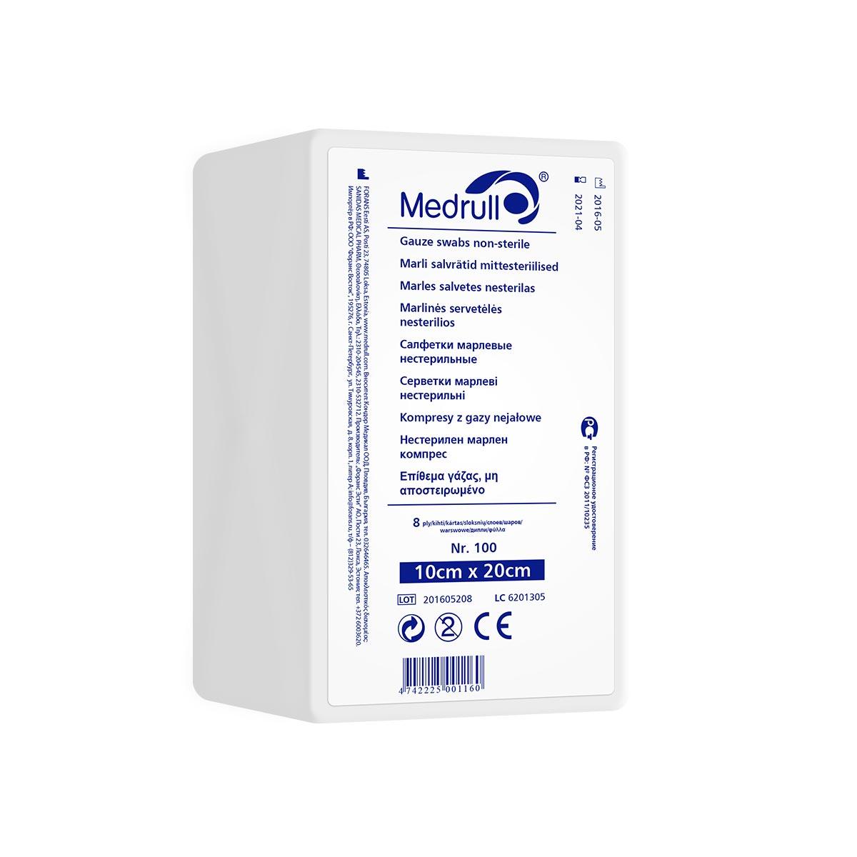 Medrull Салфетки марлевые медицинские N100, 8-слойные, нестерильные, 10х20 см4742225000163САЛФЕТКИ МАРЛЕВЫЕ НЕСТЕРИЛЬНЫЕ/8 СЛ. NR 100 Состав 100% хлопок. Структура материала 17 ниток/см2. Размер 8 сл 10см x 20см