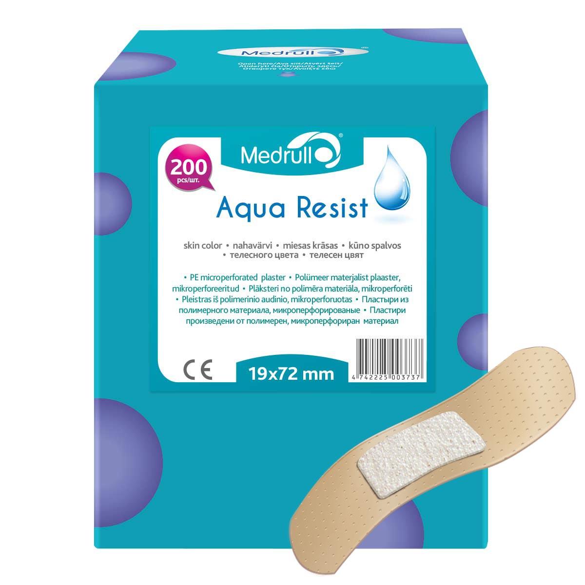 Medrull Набор пластырей Aqua Resist, 1,9х7,2 см, №20027112015Универсальные пластыри удобно и легко защитят рану от попадания влаги и грязи. Изготовлены из тонкого, перфорированного, полимерного материала, благодаря перфорации не препятствуют доступу воздуха к коже. Свойства пластыря: водонепроницаемые, грязенепроницаемые, гипоаллергенные, эластичные, дышащие, плотно прилегающие. Абсорбирующая подушечка изготовлена из вискозы и обладает высокой впитываемостью. Верхняя часть подушечки обработана полипропиленом, что защищает от вероятности прилипания пластыря к поврежденной поверхности кожи.