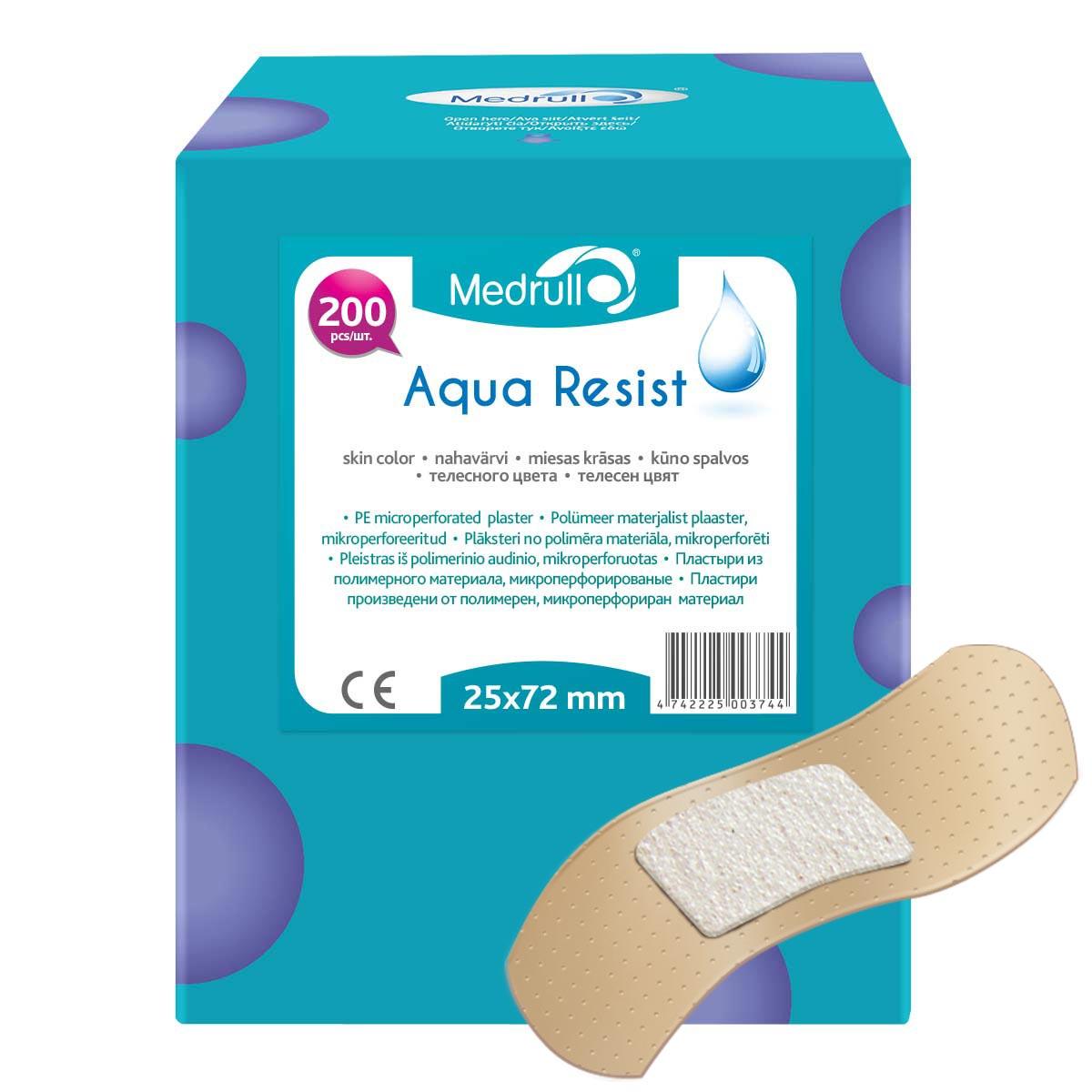 Medrull Набор пластырей Aqua Resist, 2,5х7,2 см, №20003102216Универсальные пластыри удобно и легко защитят рану от попадания влаги и грязи. Изготовлены из тонкого, перфорированного, полимерного материала, благодаря перфорации не препятствуют доступу воздуха к коже. Свойства пластыря: водонепроницаемые, грязенепроницаемые, гипоаллергенные, эластичные, дышащие, плотно прилегающие. Абсорбирующая подушечка изготовлена из вискозы и обладает высокой впитываемостью. Верхняя часть подушечки обработана полипропиленом, что защищает от вероятности прилипания пластыря к поврежденной поверхности кожи.