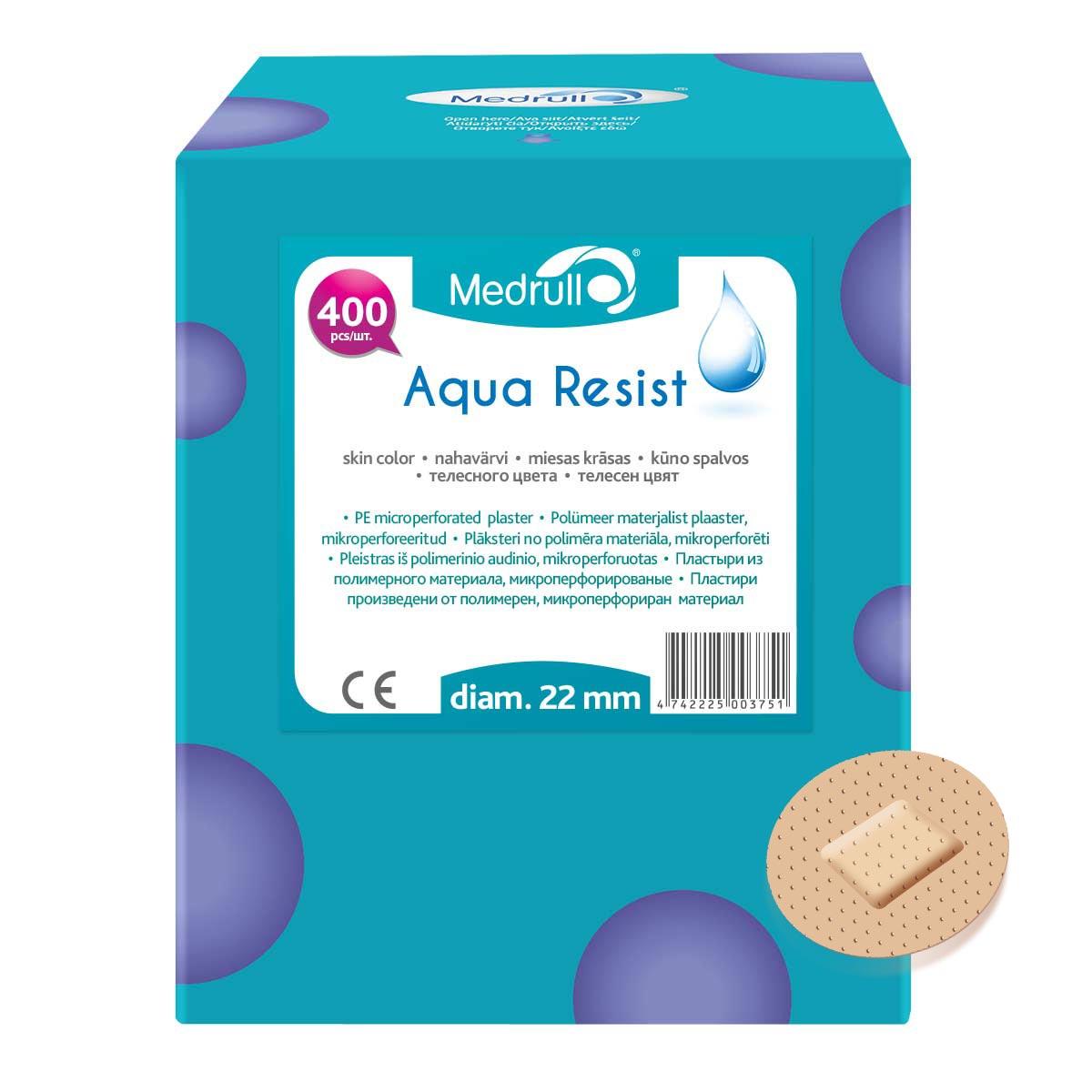 Medrull Набор пластырей Aqua Resist, диаметр 2,2 см, №40003102216Универсальные пластыри удобно и легко защитят рану от попадания влаги и грязи. Изготовлены из тонкого, перфорированного, полимерного материала, благодаря перфорации не препятствуют доступу воздуха к коже. Свойства пластыря: водонепроницаемые, грязенепроницаемые, гипоаллергенные, эластичные, дышащие, плотно прилегающие. Абсорбирующая подушечка изготовлена из вискозы и обладает высокой впитываемостью. Верхняя часть подушечки обработана полипропиленом, что защищает от вероятности прилипания пластыря к поврежденной поверхности кожи.