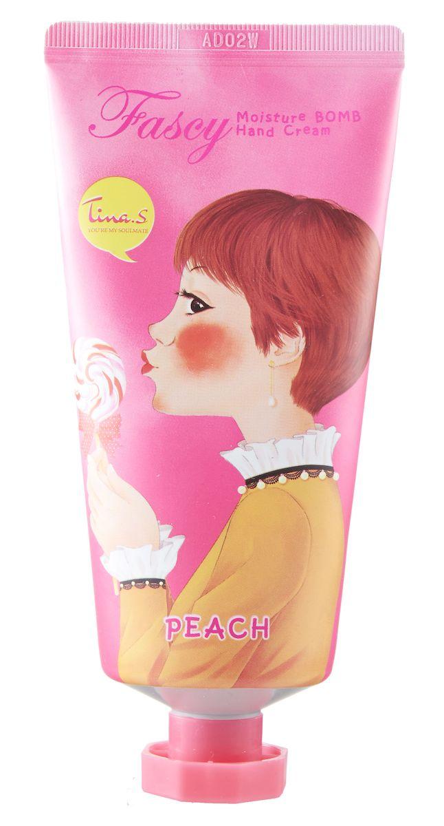 Fascy Увлажняющий крем для рук Moisture Bomb Hand Cream с экстрактом персика, 80 мл84476/72272Увлажняющий крем для рук Moisture Bomb Hand Cream с экстрактом персика повышает эластичность и возвращает тонус коже, прекрасно увлажняя и питая ее.- Экстракт персика оказывает антиоксидантное действие, а также защищает клетки кожи от вредного воздействия УФ-излучения- Масло ши смягчает и восстанавливает кожу- Экстракт алоэ вера обладает противовоспалительными свойствамиМеры предосторожности: при попадании продукта на слизистые оболочки обильно промойте водой. Храните в защищенном от прямых солнечных лучей и высоких температур месте, недоступном для детей и животных.Способ применения: наносите крем на кожу рук мягкими массирующими движениями.Состав: Water, Glycerin, Cetearyl Alcohol, Mineral Oil, Dipropylene Glycol, Dimethicone, Cyclopentasiloxane, Glyceryl Stearate, PEG-100 Stearate, Polysorbate 60, Sorbitan Stearate, Sodium Polyacrylate, Ethylhexyl Stearate, Xanthan Gum, Acrylates/C10-30 Alkyl Acrylate Crosspolymer, Adenosine, Potassium Hydroxide, Trideceth-6, Butyrospermum Parkii (Shea) Butter, Butylene Glycol, Panthenol, Allantoin, Aloe Barbadensis Leaf Extract, Prunus Persica (Peach) Fruit Extract, Ethylhexylglycerin, Disodium EDTA, Methylparaben, Propylparaben, Phenoxyethanol, CI 14700, CI 17200, Fragrance.