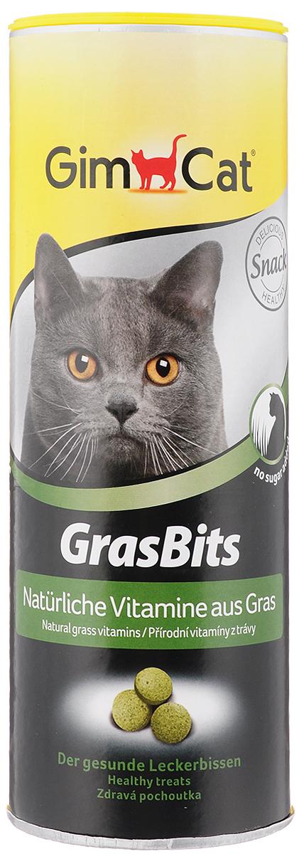 Лакомство для кошек GimCat GrasBits, с травой, 425 г8595602505692Лакомство для кошек GimCat GrasBits - исключительно вкусное лакомство с высоким содержанием натуральной травы. Трава - это поставщик питательных и активных веществ, таких как аминокислоты, минералы, микроэлементы и витамины. В качестве источника натуральных витаминов таблетки GrasBits поддержат здоровье и прекрасное самочувствие вашей кошки на всех стадиях ее жизни. Витаминизированные лакомства GrasBits - не только прекрасная замена натуральной травы, но и необходимая ежедневная добавка к питанию вашей кошки. Ни одна кошка не сможет сопротивляться аромату GrasBits. Количество таблеток: 708 шт. Товар сертифицирован.
