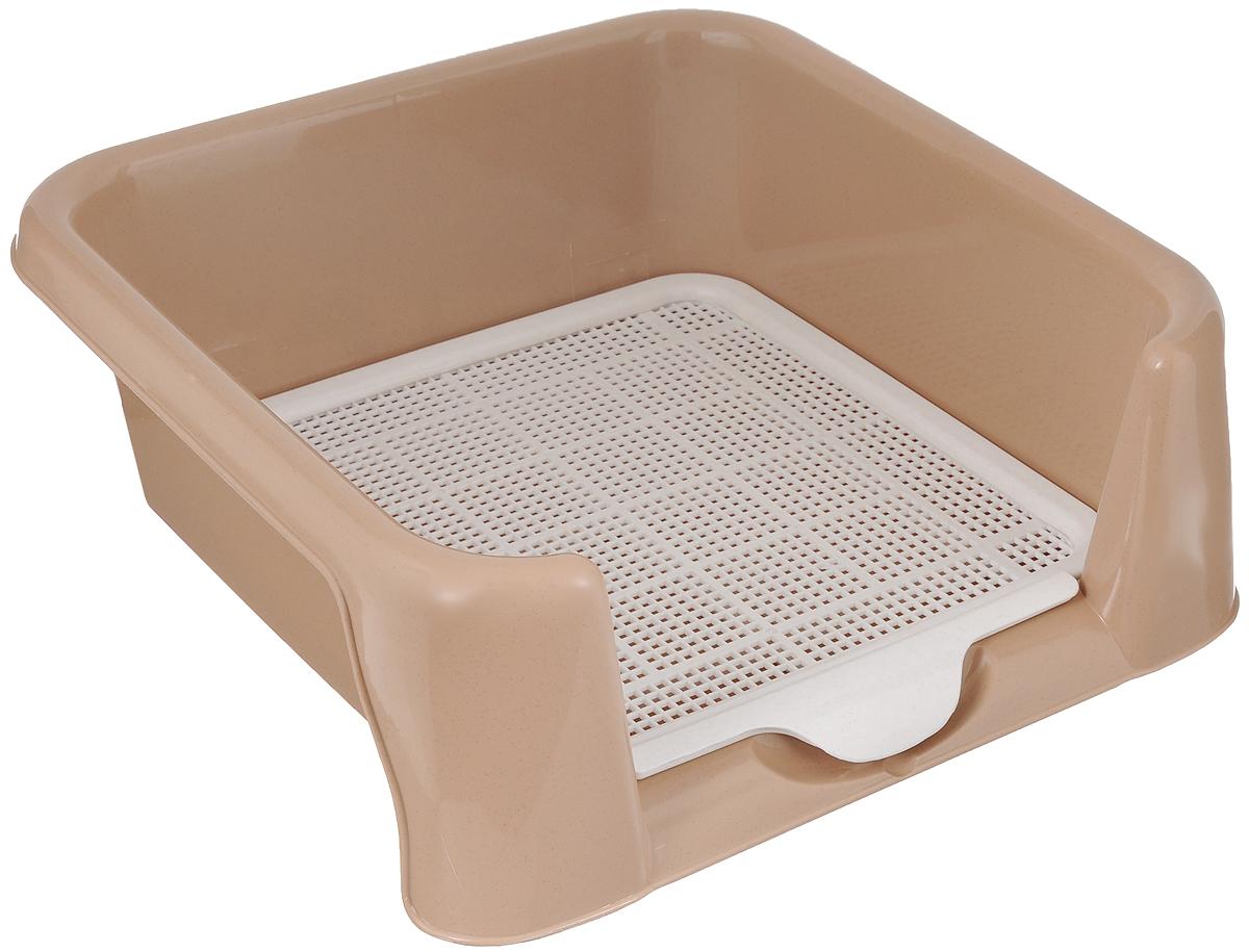 Туалет для собак Triol, с сеткой, цвет: бежевый, белый, 40 х 40 х 15,5 см42884Туалет для собак Triol изготовлен из прочного пластика и снабжен специальной съемной сеткой. Высокие бортики обеспечивают комфорт питомцу. Изделие можно использовать как с наполнителем, так и без. Сетка расположена выше дна, и лапки вашей собаки останутся сухими.