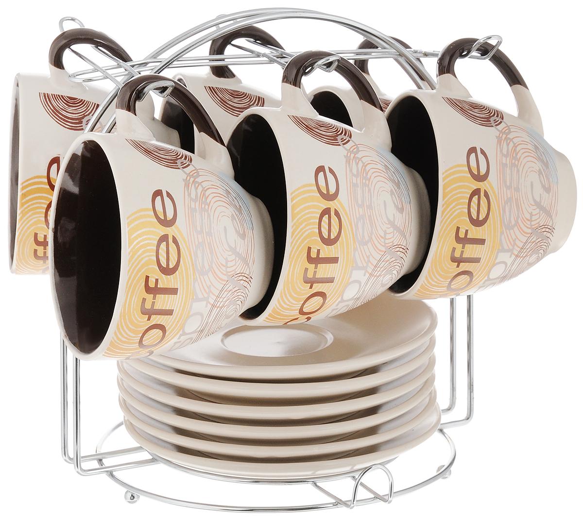 Набор кофейный Loraine, на подставке, 13 предметов. 23536115510Кофейный набор Loraine состоит из 6 чашек и 6 блюдец. Изделия выполнены из высококачественной керамики и оформлены стильным рисунком Кофе. Набор выполнен в красивых кофейных тонах. Теплостойкие ручки обеспечивают комфорт во время использования. Изящный дизайн придется по вкусу и ценителям классики, и тем, кто предпочитает утонченность и изысканность. Кофе, сервированный в такой посуде, настроит на позитивный лад и подарит хорошее настроение. В комплекте предусмотрена металлическая подставка. Кофейный набор Loraine - идеальный и необходимый подарок для вашего дома и для ваших друзей в праздники. Можно мыть в посудомоечной машине, использовать в микроволновой печи, а также ставить в холодильник. Объем чашки: 220 мл. Диаметр чашки (по верхнему краю): 8,5 см. Высота чашки: 7,5 см. Диаметр блюдца: 14,5 см. Размер подставки: 19 х 19 х 20 см.