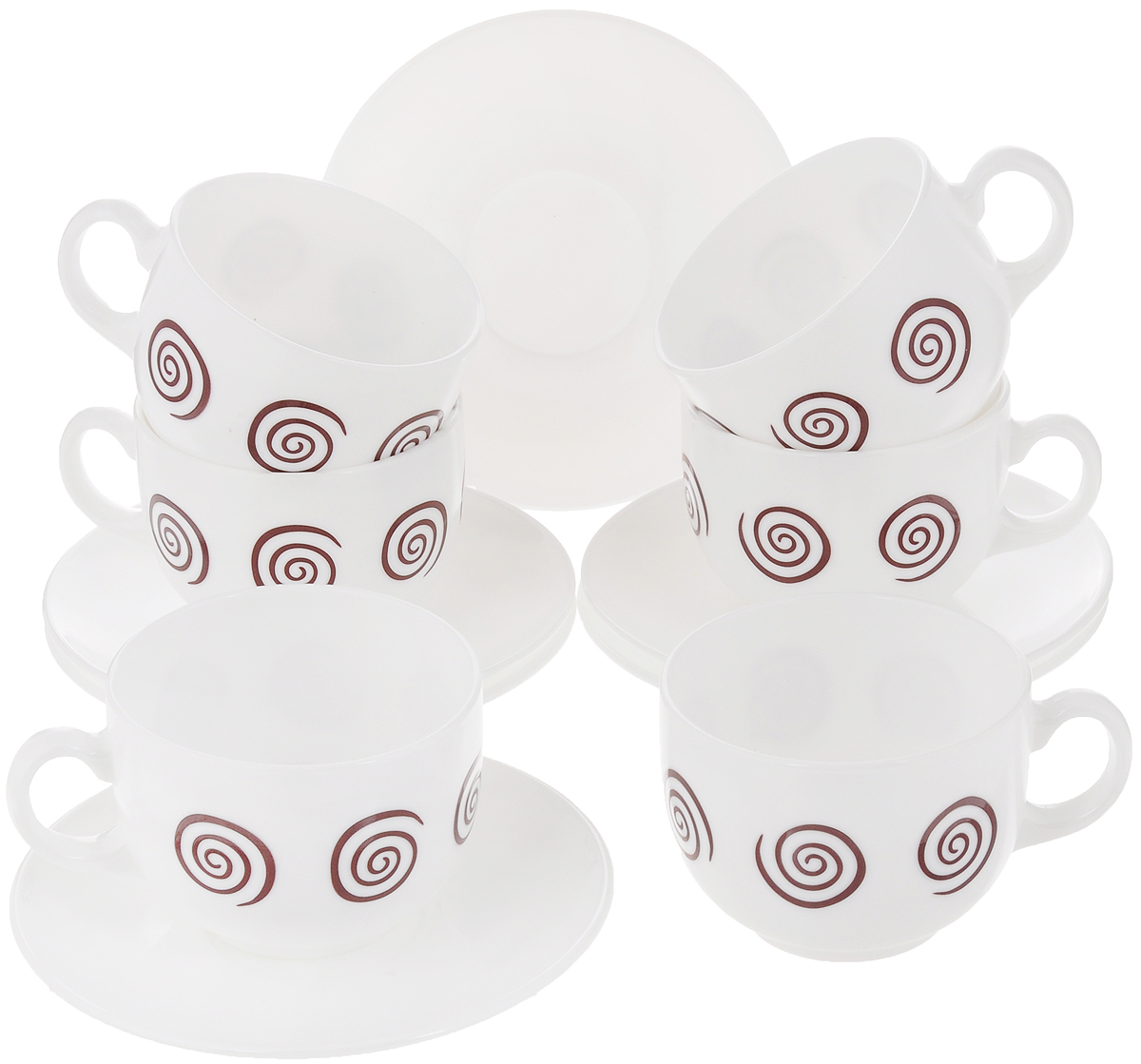 Набор чайный Luminarc Sirocco Brown, 12 предметовVT-1520(SR)Чайный набор Luminarc Sirocco Brown состоит из 6 чашек и 6 блюдец. Изделия, выполненные из высококачественного ударопрочного стекла, имеют элегантный дизайн с красивым рисунком. Посуда отличается прочностью, гигиеничностью и долгим сроком службы, она устойчива к появлению царапин и резким перепадам температур. Такой набор прекрасно подойдет как для повседневного использования, так и для праздников. Чайный набор Luminarc Sirocco Brown - это не только яркий и полезный подарок для родных и близких, это также великолепное дизайнерское решение для вашей кухни или столовой. Объем чашки: 220 мл. Диаметр чашки (по верхнему краю): 8 см. Высота чашки: 6,5 см.Диаметр блюдца: 13 см.