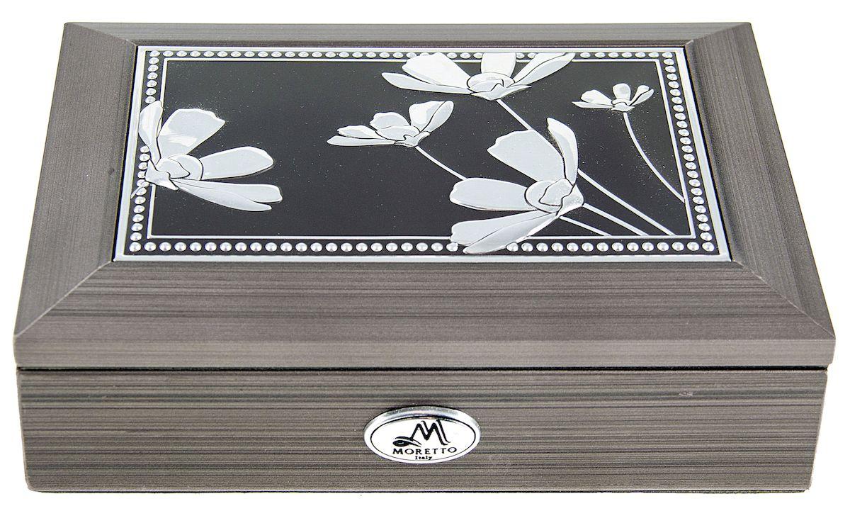 Шкатулка для ювелирных украшений Moretto, 18 х 13 х 5 см. 13959339852Шкатулка Moretto станет идеальным обрамлением для вашей коллекции украшений, заставляя заиграть ее новыми красками. Шкатулка выполнена в классическом стиле. Одноярусная схема исполнения и зеркало, скрывающееся под крышкой, позволит вам провести немало приятных минут, примеряя свои драгоценности.Размеры шкатулки: 18 х 13 х 5 см.