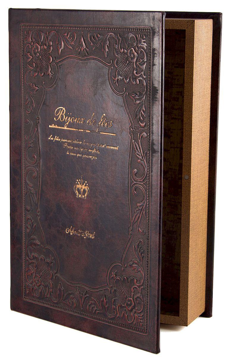 Шкатулка-фолиант Win Max, 33 х 22 х 7 см. 18419883605Шкатулка-фолиант Win Max выполнена в виде книги. Оригинальное оформление шкатулки, несомненно, привлечет к себе внимание.Поверхность шкатулки-фолианта выполнена из МДФ, обтянутого искусственной кожей. Внутри шкатулка отделана под дерево. Закрывается шкатулка на замок-магнит.Такая шкатулка может использоваться для хранения бижутерии, в качестве украшения интерьера, а также послужит хорошим подарком для человека, ценящего практичные и оригинальные вещи.
