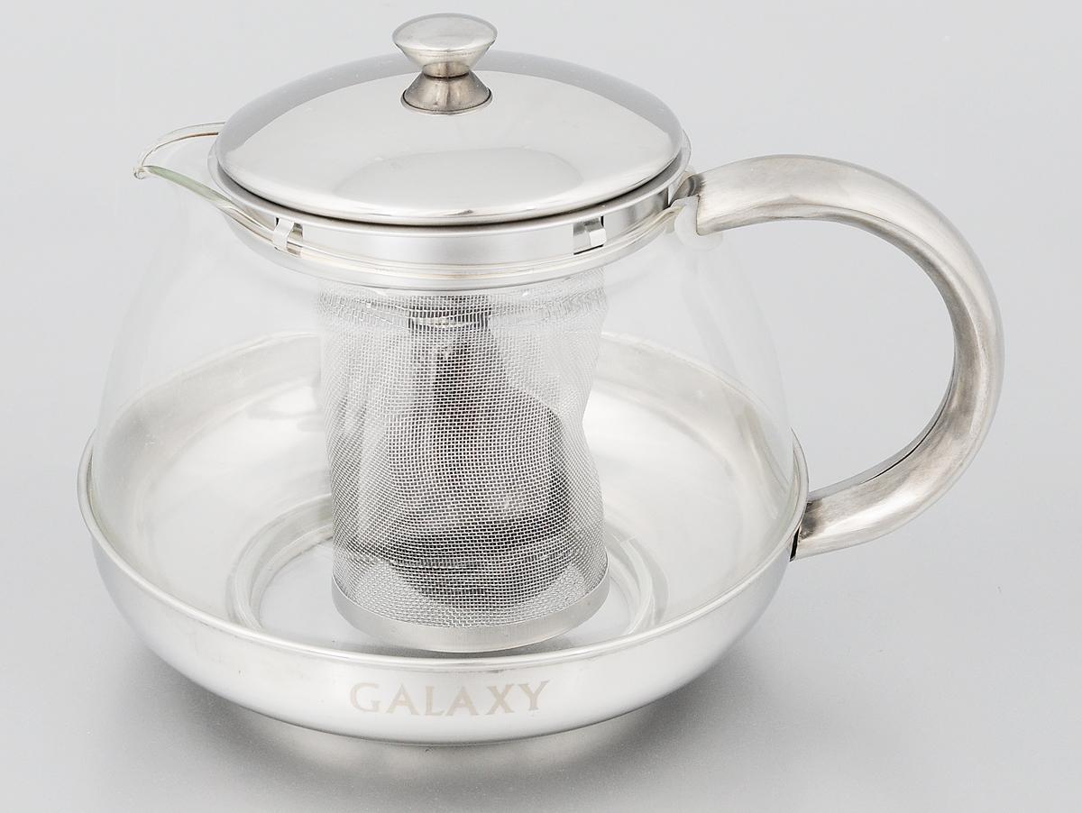 Чайник заварочный Galaxy, с ситечком, 1 лгл9352Заварочный чайник Galaxy поможет приготовить вкусный и ароматный чай. Корпус выполнен из высококачественной нержавеющей стали, а колба - из жаропрочного боросиликатного стекла. Чайник снабжен съемным металлическим ситечком. Пластиковая мерная ложка в комплекте.Можно мыть в посудомоечной машине. Диаметр (по верхнему краю): 8,5 см. Высота чайника (без учета крышки): 9,5 см. Длина ложки: 10 см. Высота ситечка: 8 см.