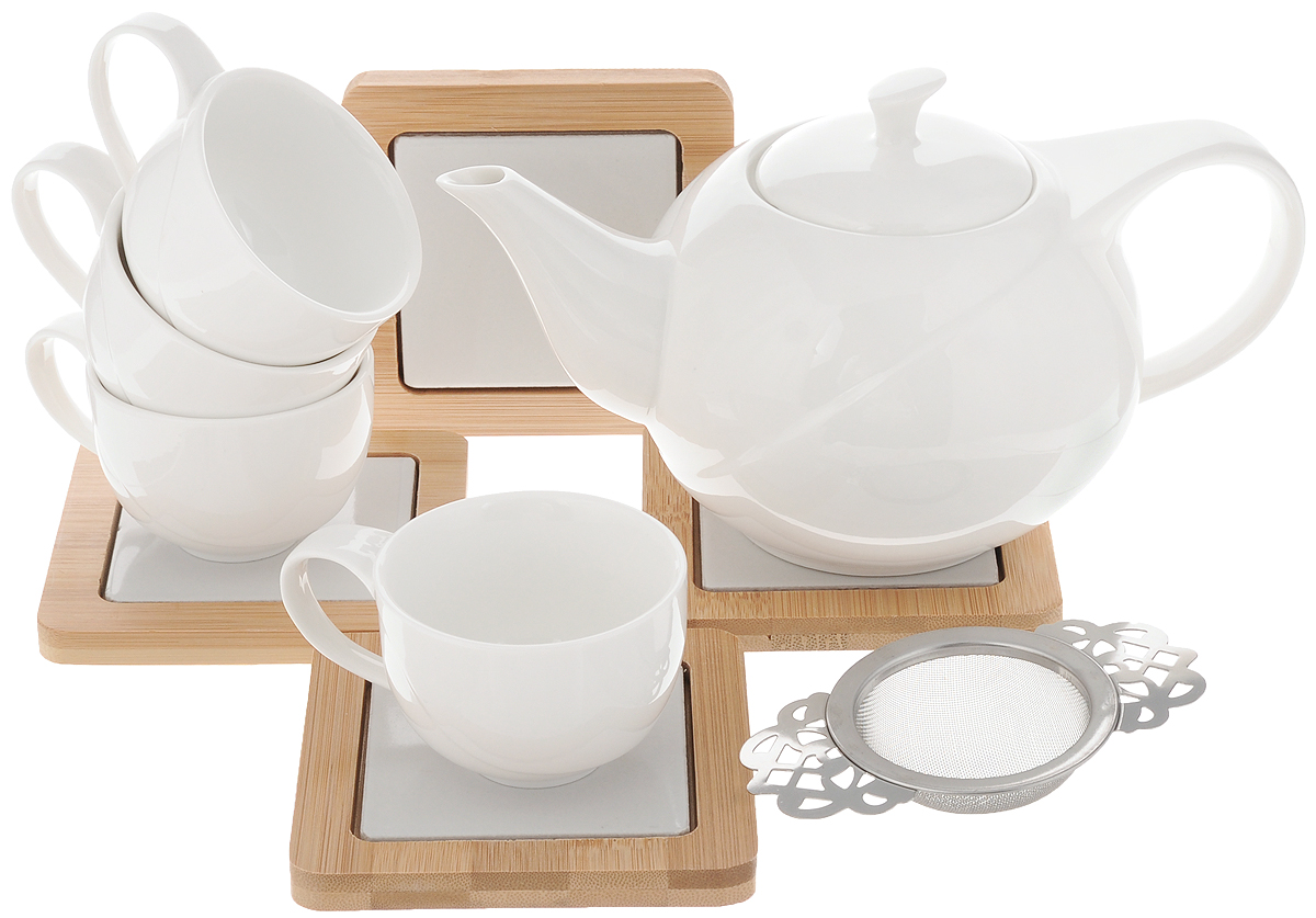 Набор чайный EcoWoo, 9 предметов115510Чайный набор EcoWoo - это не только идеальный подарок, но и прекрасный повод побаловать себя! Набор состоит из 4 чашек, 4 бамбуковых подставок и заварочного чайника с фильтром.Такой набор станет идеальным решением для ценителей экологичных деталей в интерьере и поклонников здорового образа жизни.Объем чайника: 600 мл.Диаметр чайника (по верхнему краю): 7 см.Высота чайника (без учета крышки): 9,5 см.Объем чашки: 75 мл.Диаметр чашки (по верхнему краю): 6,8 см.Высота чашки: 5 см.Размер подставки: 10 х 10 см.