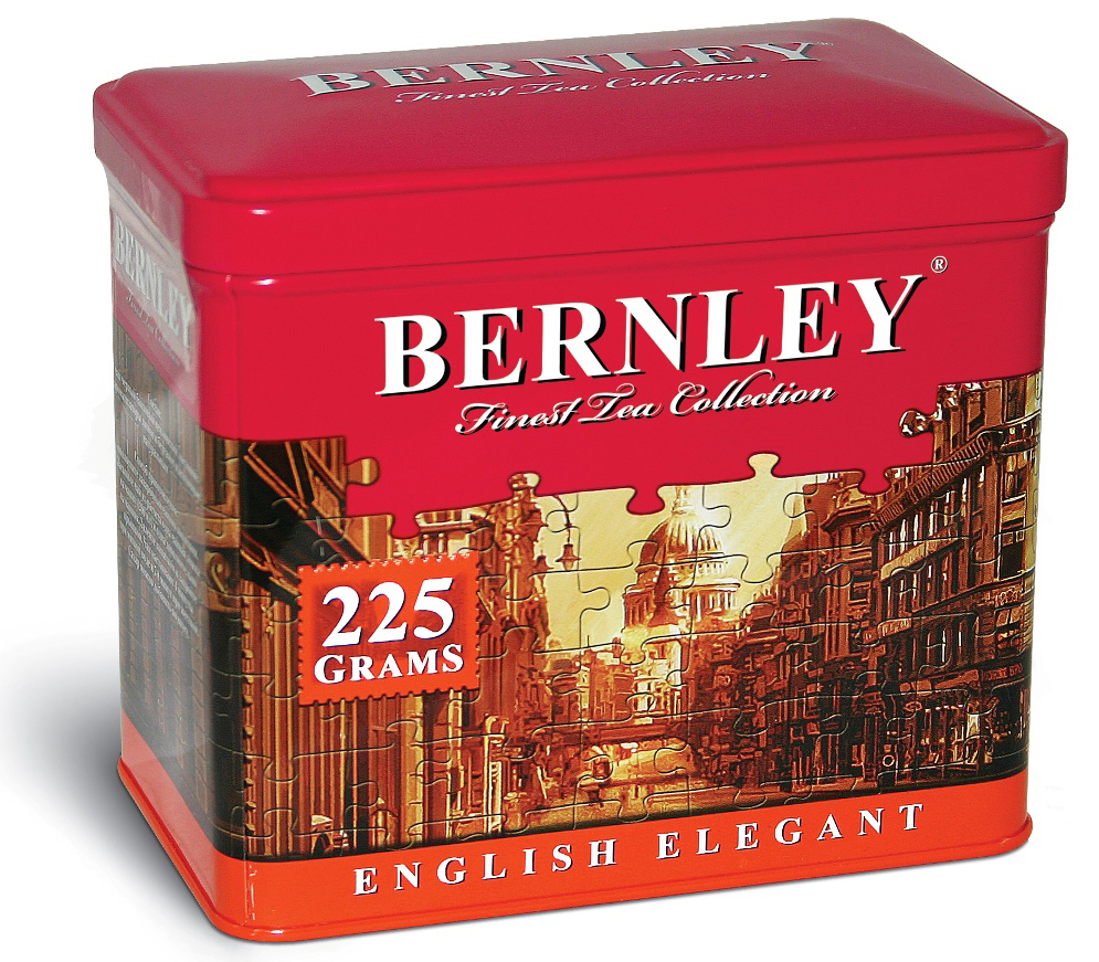 Bernley English Elegant черный листовой ароматизированный чай, 225 г (ж/б)0120710Bernley English Elegant - это поистине сказочный напиток, отличающийся невероятной легкостью и неповторимым букетом насыщенного вкуса настоящего цейлонского чая и нежного аромата тропического бергамота и лимона – достойное украшение премиальной коллекции Bernley.