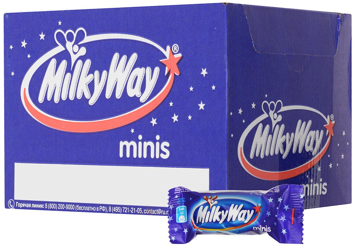 Milky Way minis шоколадный батончик, 1 кг0120710Milky Way minis - конфеты, состоящие из нуги, которая намного легче молока. Молочный шоколад, которым покрыт Milky Way, делает вкус конфет незабываемо нежным. Порадуйте юных сладкоежек, купите им Milky Way, а они обязательно с вами поделятся.