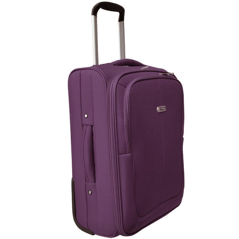 Чемодан-тележка Edmins, цвет: фиолетовый, 50х35х24смГризлиЧемодан-тележка с выдвижной ручкой 50 см. с расширением 5 см. Максимальная нагрузка 10 кг.