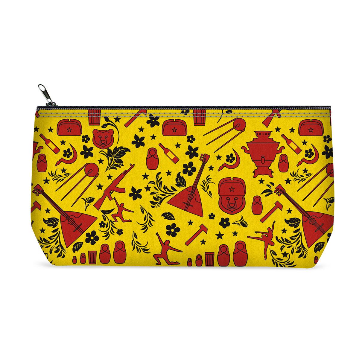Косметичка ОРЗ-дизайн Russsian, цвет: желтый, черный, красный. Орз-0372INT-06501Косметичка Russsian - оригинальный и стильный аксессуар, который придется по душе истинным модникам и поклонникам интересного и необычного дизайна.Качественная сумочка выполнена из прочного текстиля, который надежно защитит ваши вещи от пыли и влаги, и оформлена оригинальным принтом с российской атрибутикой. Рисунок нанесён специальным образом и защищён от стирания. Изделие идеально подходит для хранения косметики, таблеток, украшений, ключей, зарядных устройств, мобильного телефона или документов. Простая, но в то же время стильная косметичка определенно выделит своего обладателя из толпы и непременно поднимет настроение. А яркий современный дизайн, который является основной фишкой данной модели, будет радовать глаз.
