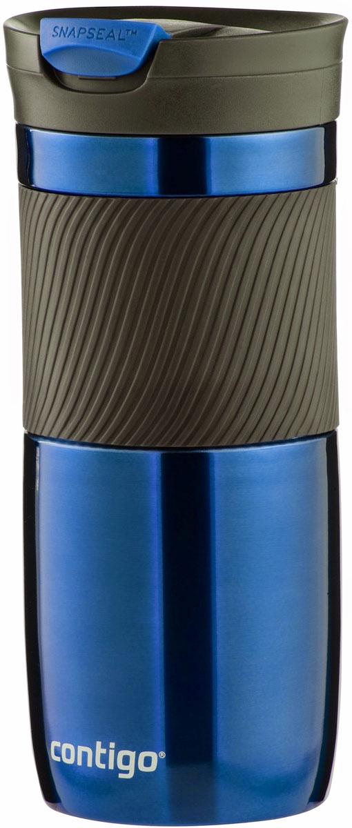 Термокружка Contigo Byron, цвет: синий, 470 млVT-1520(SR)Термокружка Contigo Byron, изготовленная из высококачественной матированной нержавеющей стали и пищевого пластика, подходит как для холодных, так и для горячих напитков. Жидкость сохраняется горячей до 7 часов, холодной - до 18 часов. Изделие оснащено крышкой с открывающимся клапаном, что очень удобно для питья. Специальное устройство Snapseal открывает и закрывает клапан. Рельефная резиновая вставка на корпусе кружки обеспечивает удобный хват и защищает руки от воздействия высоких температур.С такой термокружкой вы где угодно сможете насладиться вашими любимыми напитками: в поездке, на прогулке, на работе или учебе. Изделие удобно брать с собой. Подходит для мытья в посудомоечной машине.