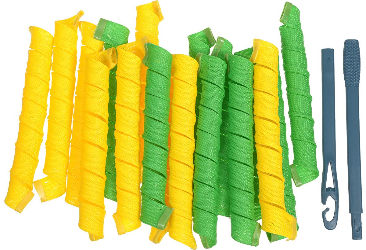 Magic Leverage Волшебные бигуди Средние 48 см, 18 штVT 435_Буквы_малиновыйВолшебные бигуди Magic Leverage, средние-длинные. В комплекте 18 штук бигуди (9 желтых и 9 зеленых). Характеристики:Длина: 48 смШирина локона: 2,3 смДиаметр завитка: 2,2 смКоличество: 18 шт.Крючок: двойнойУпаковка: коробка ХВ