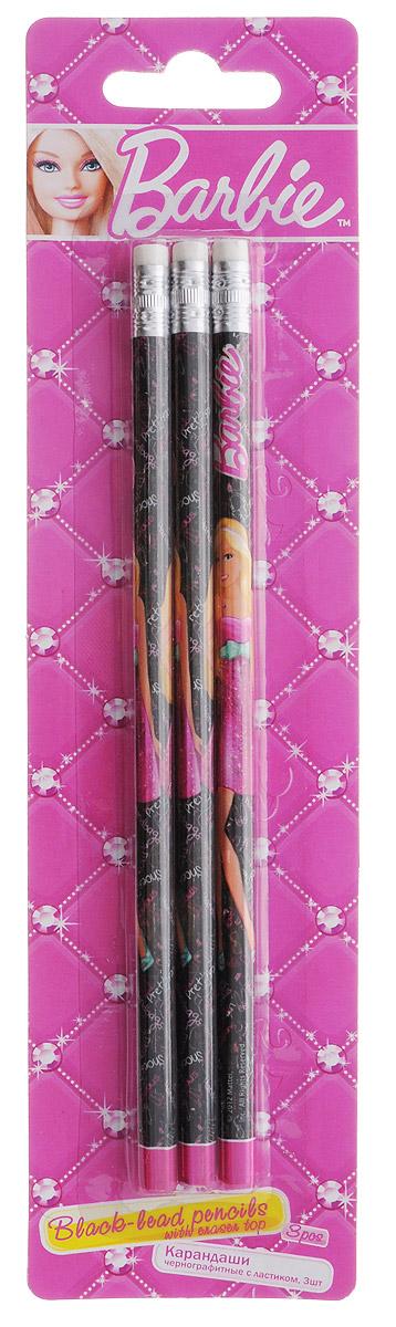 Barbie Набор чернографитных карандашей с ластиком 3 штFS-54102Набор чернографитных карандашей Barbie пригодится на рабочем столе и в пенале любой школьницы или студентки.Круглый корпус карандаша изготовлен из древесины, гладкость которой обеспечена многослойной покраской, и оформлен изображением знаменитой куклы Барби. На торце расположен металлический наконечник с ластиком.Комплект включает три незаточенных чернографитных карандаша.