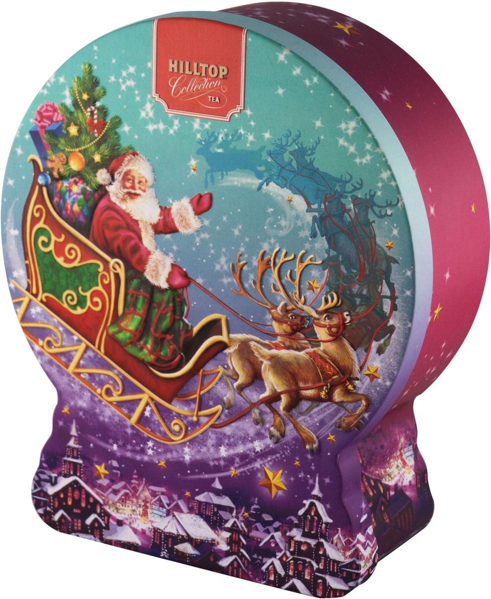 Hilltop Снежный шар Волшебные сани Черный лист черный листовой чай, 100 г0120710Hilltop Черный лист - особо крупнолистовой цейлонский черный чай с насыщенным ароматом и терпким послевкусием. Поставляется в подарочной металлической упаковкев форме снежного шара. Отлично подойдет в качестве подарка на новогодние праздники.