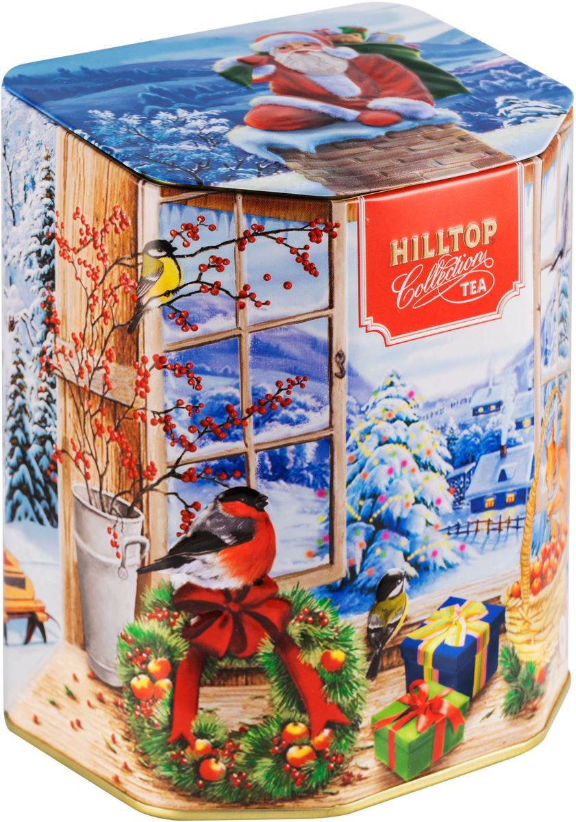 Hilltop Подарок Цейлона. Праздничное утро чай черный листовой, 100 г101246Черный листовой чай Hilltop Подарок Цейлона. Праздничное утро в подарочной банке очарует вас и ваших близких своим легким, нежным вкусом и приятным ароматом. Оригинальная баночка в виде окошка с новогодним пейзажем подарит праздничное настроение и послужит замечательным украшением праздничного стола.