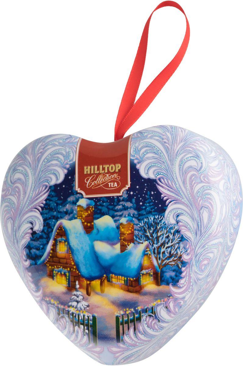 Hilltop Сердечко Снежный домик Новогодний ароматизированный листовой чай, 50 г0120710Чай Новогодний - ароматный черный чай с корицей и цедрой апельсина. Дополнен миндальным орехом, инжиром и гвоздикой.