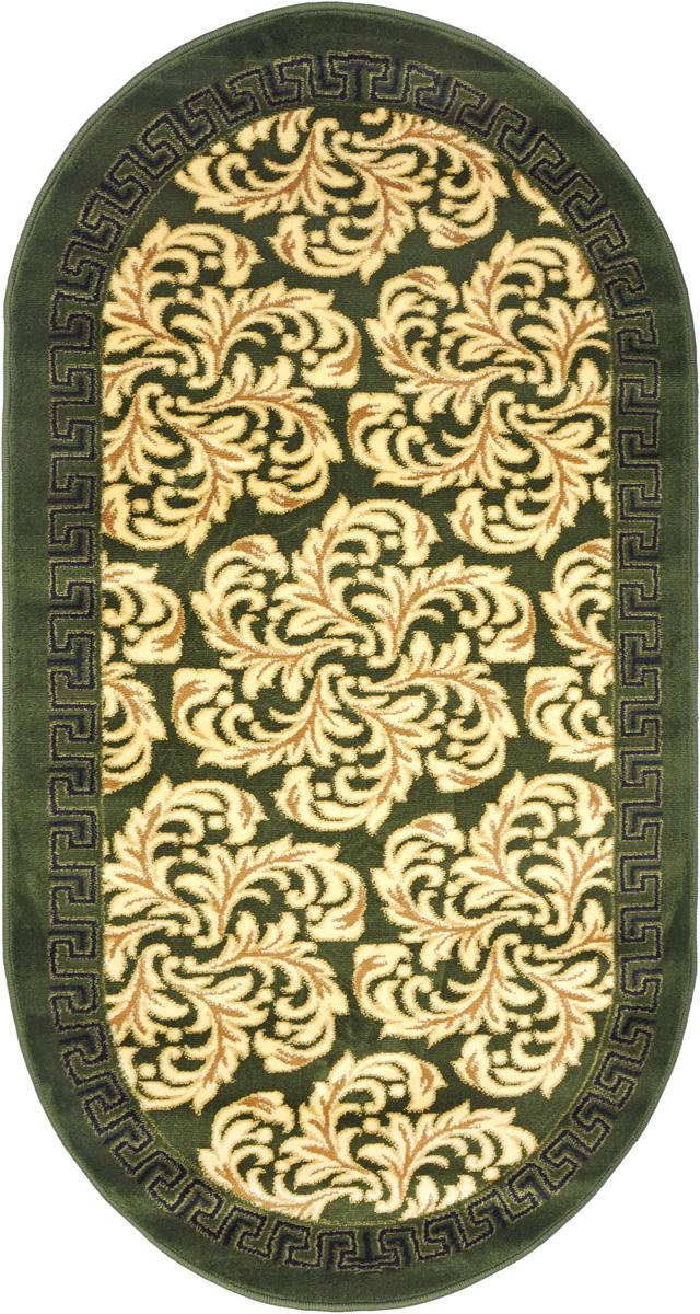 Ковер Kamalak Tekstil, овальный, 80 x 150 см. УК-0293ES-412Ковер Kamalak Tekstil изготовлен из прочного синтетического материала heat-set, улучшенного варианта полипропилена (эта нить получается в результате его дополнительной обработки). Полипропилен износостоек, нетоксичен, не впитывает влагу, не провоцирует аллергию. Структура волокна в полипропиленовых коврах гладкая, поэтому грязь не будет въедаться и скапливаться на ворсе. Практичный и износоустойчивый ворс не истирается и не накапливает статическое электричество. Ковер обладает хорошими показателями теплостойкости и шумоизоляции. Оригинальный рисунок позволит гармонично оформить интерьер комнаты, гостиной или прихожей. За счет невысокого ворса ковер легко чистить. При надлежащем уходе синтетический ковер прослужит долго, не утратив ни яркости узора, ни блеска ворса, ни упругости. Самый простой способ избавить изделие от грязи - пропылесосить его с обеих сторон (лицевой и изнаночной). Влажная уборка с применением шампуней и моющих средств не противопоказана. Хранить рекомендуется в свернутом рулоном виде.