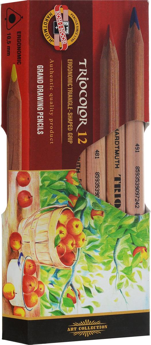 Koh-i-Noor Цветные карандаши Triocolor художественные 12 цветов72523WDЦветные художественные карандаши Triocolor непременно, понравятся вашему юному художнику. Набор включает в себя 12 ярких насыщенных цветных карандашей, которые идеально подходят для малышей. Эргономичный трехгранный утолщенный корпус изготовлен из натуральной неокрашенной древесины. Карандаши имеют прочный неломающийся грифель, не требующий сильного нажатия. Карандаши легко затачиваются. Порадуйте своего ребенка таким восхитительным подарком!