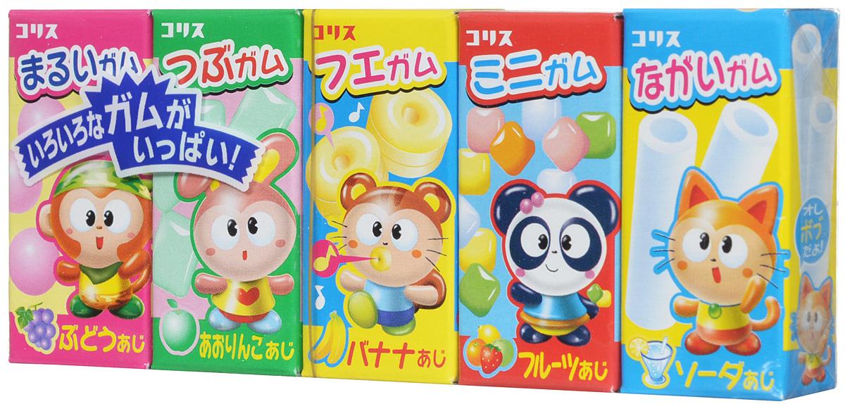 Coris Gum-Gum 5 ассорти жевательная резинка, 38 г4640000272265Lotte Gum-Gum 5 - известная японская жевательная резинка с разными вкусами (виноград, зеленое яблоко, банан, ассорти фруктов и содовая) в отдельных коробочках. Не отвердевает, держит вкус.
