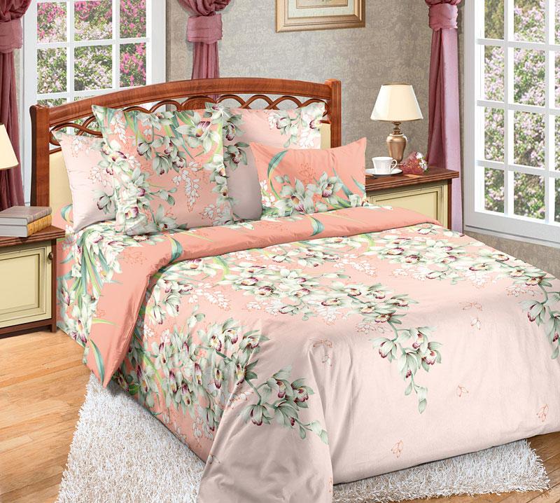 Комплект белья Текс-Дизайн Лиана 1, 2-спальный, наволочки 70x70391602Перкалевое постельное белье Лиана - это изящно вьющийся, словно лиана, эксклюзивный цветочный узор. Экзотические цветы, напоминающие орхидеи, очень эффектно, выгодно смотрятся на розовом фоне.Перкаль - это тонкая и легкая хлопчатобумажная ткань высокой плотности полотняного переплетения, сотканная из пряжи высоких номеров. При изготовлении перкаля используются длинноволокнистые сорта хлопка, что обеспечивает высокие потребительские свойства материала. Несмотря на свою утонченность, перкаль очень практичен - это одна из самых износостойких тканей для постельного белья.