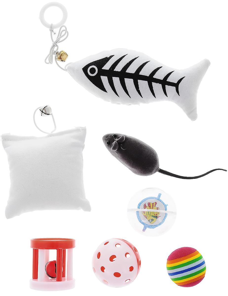 Набор игрушек Pet Fun, для кошек, 7 шт75270Набор Pet Fun состоит из рыбки, подушки, мышки, цилиндра и 3 мячиков. Мышка при нажатии пищит. С таким забавным набором, маленькие котята будут развиваться физически, а взрослые кошки и коты поддерживать свой мышечный тонус. Яркие игрушки не навредят здоровью животного и увлекут его на долгое время. Такие игрушки хорошо подойдут для кошек, которые любят выпускать при игре когти.Размер мышки (с учетом хвоста): 13,5 х 3 х 3 см.Размер рыбки (без учета шнурка): 12,5 х 6 х 4 см.размер подушки: 8 х 8 х 4 см.Диаметр мячей: 4,5 см; 3,5 см; 4,5 см.Размер цилиндра: 4 х 4 х 4,5 см.
