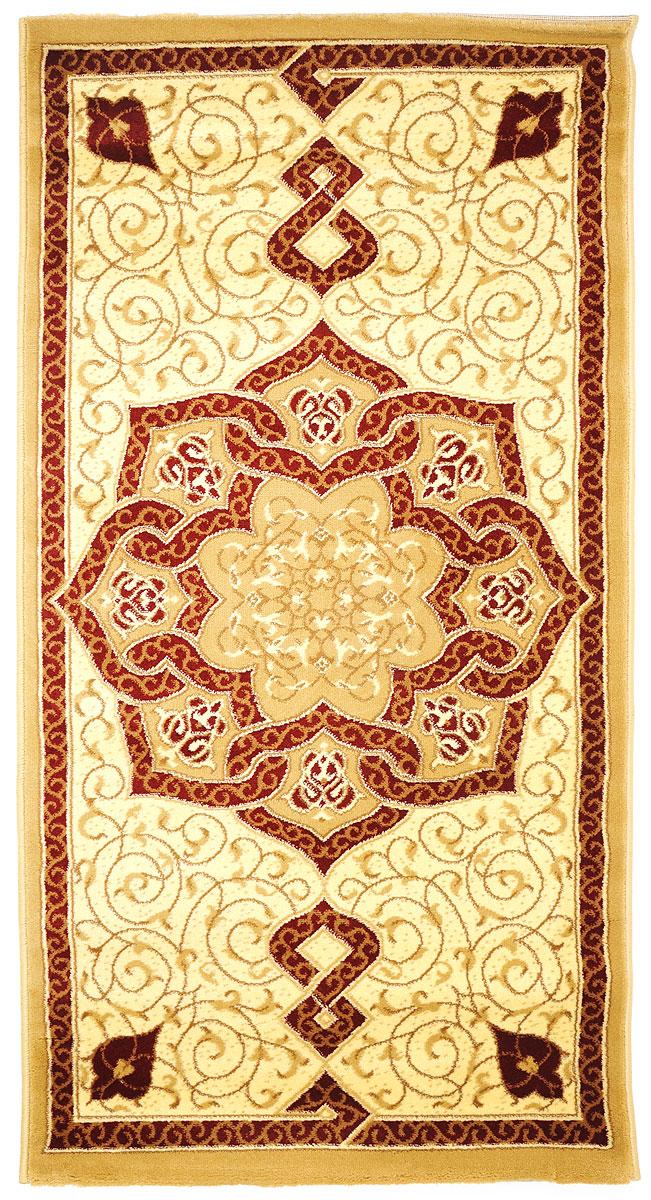 Ковер Kamalak Tekstil, прямоугольный, 80 x 150 см. УК-0087WUB 5647 weisКовер Kamalak Tekstil изготовлен из прочного синтетического материала heat-set, улучшенного варианта полипропилена (эта нить получается в результате его дополнительной обработки). Полипропилен износостоек, нетоксичен, не впитывает влагу, не провоцирует аллергию. Структура волокна в полипропиленовых коврах гладкая, поэтому грязь не будет въедаться и скапливаться на ворсе. Практичный и износоустойчивый ворс не истирается и не накапливает статическое электричество. Ковер обладает хорошими показателями теплостойкости и шумоизоляции. Оригинальный рисунок позволит гармонично оформить интерьер комнаты, гостиной или прихожей. За счет невысокого ворса ковер легко чистить. При надлежащем уходе синтетический ковер прослужит долго, не утратив ни яркости узора, ни блеска ворса, ни упругости. Самый простой способ избавить изделие от грязи - пропылесосить его с обеих сторон (лицевой и изнаночной). Влажная уборка с применением шампуней и моющих средств не противопоказана. Хранить рекомендуется в свернутом рулоном виде.