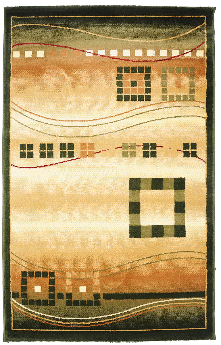 Ковер Kamalak Tekstil, прямоугольный, 100 x 150 см. УК-0077THN132NКовер Kamalak Tekstil изготовлен из прочного синтетического материала heat-set, улучшенного варианта полипропилена (эта нить получается в результате его дополнительной обработки). Полипропилен износостоек, нетоксичен, не впитывает влагу, не провоцирует аллергию. Структура волокна в полипропиленовых коврах гладкая, поэтому грязь не будет въедаться и скапливаться на ворсе. Практичный и износоустойчивый ворс не истирается и не накапливает статическое электричество. Ковер обладает хорошими показателями теплостойкости и шумоизоляции. Оригинальный рисунок позволит гармонично оформить интерьер комнаты, гостиной или прихожей. За счет невысокого ворса ковер легко чистить. При надлежащем уходе синтетический ковер прослужит долго, не утратив ни яркости узора, ни блеска ворса, ни упругости. Самый простой способ избавить изделие от грязи - пропылесосить его с обеих сторон (лицевой и изнаночной). Влажная уборка с применением шампуней и моющих средств не противопоказана. Хранить рекомендуется в свернутом рулоном виде.