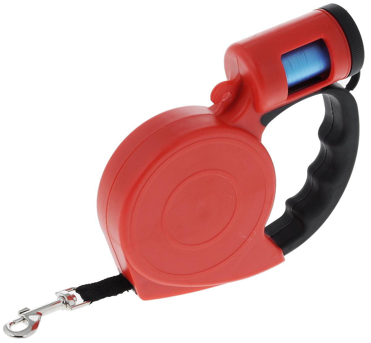 Поводок-рулетка Pet Fun, с диспенсером для гигиенических пакетов, 5 м0120710Поводок-рулетка Pet Fun, выполненный из пластика, обеспечит безопасность вам и вашему любимцу. Благодаря специальному покрытию ручки и надежному замку вы сможете полностью контролировать свою собаку на прогулке.Теперь вам не придется за ней бегать. Вы можете просто ослабить фиксатор, и лента будет вытягиваться по всей длине поводка и автоматически приспосабливаться к движениям вашей собаки до того момента, пока вы не нажмете на кнопку блокировки.Изделие оснащено диспансером для гигиенических пакетов.В комплект входит 1 рулон с 20 гигиеническими пакетами, изготовленными из полиэтилена. Они предназначены для уборки за собакой в общественных местах (подъезд, двор, газон, общественный транспорт).Длина поводка: 5 м.