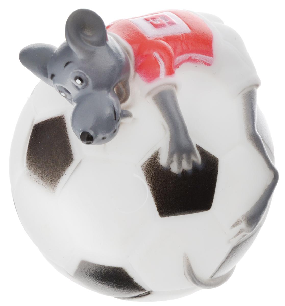 Игрушка для собак Каскад Мышь на футбольном мяче, диаметр 10 см0120710Игрушка для собак Каскад Мышь на футбольном мяче изготовлена из мягкой и прочной безопасной резины, устойчивой к разгрызанию. Игрушка снабжена пищалкой. Изделие отличается прочностью и в то же время мягкостью и эластичностью. Необычная и забавная игрушка прекрасно подойдет для игр вашей собаки.