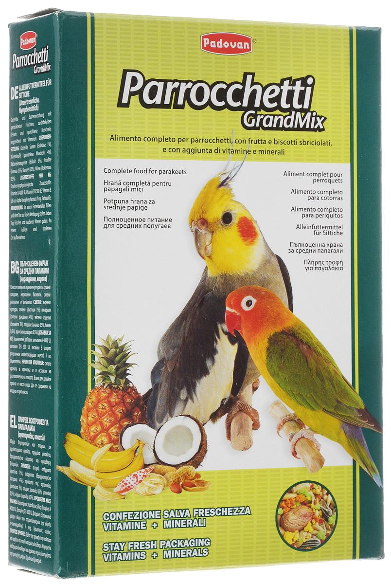 Корм для средних попугаев Padovan Parrocchetti GrandMix, 400 г0120710Корм Padovan Parrocchetti GrandMix - это комплексный высококачественный основной корм для средних попугаев (неразлучники, кареллы и другие). Корм имеет в составе смесь зерен и семян с сушеными фруктами, раскрошенным печеньем и измельченными ракушками, а также витаминные добавки. Товар сертифицирован.