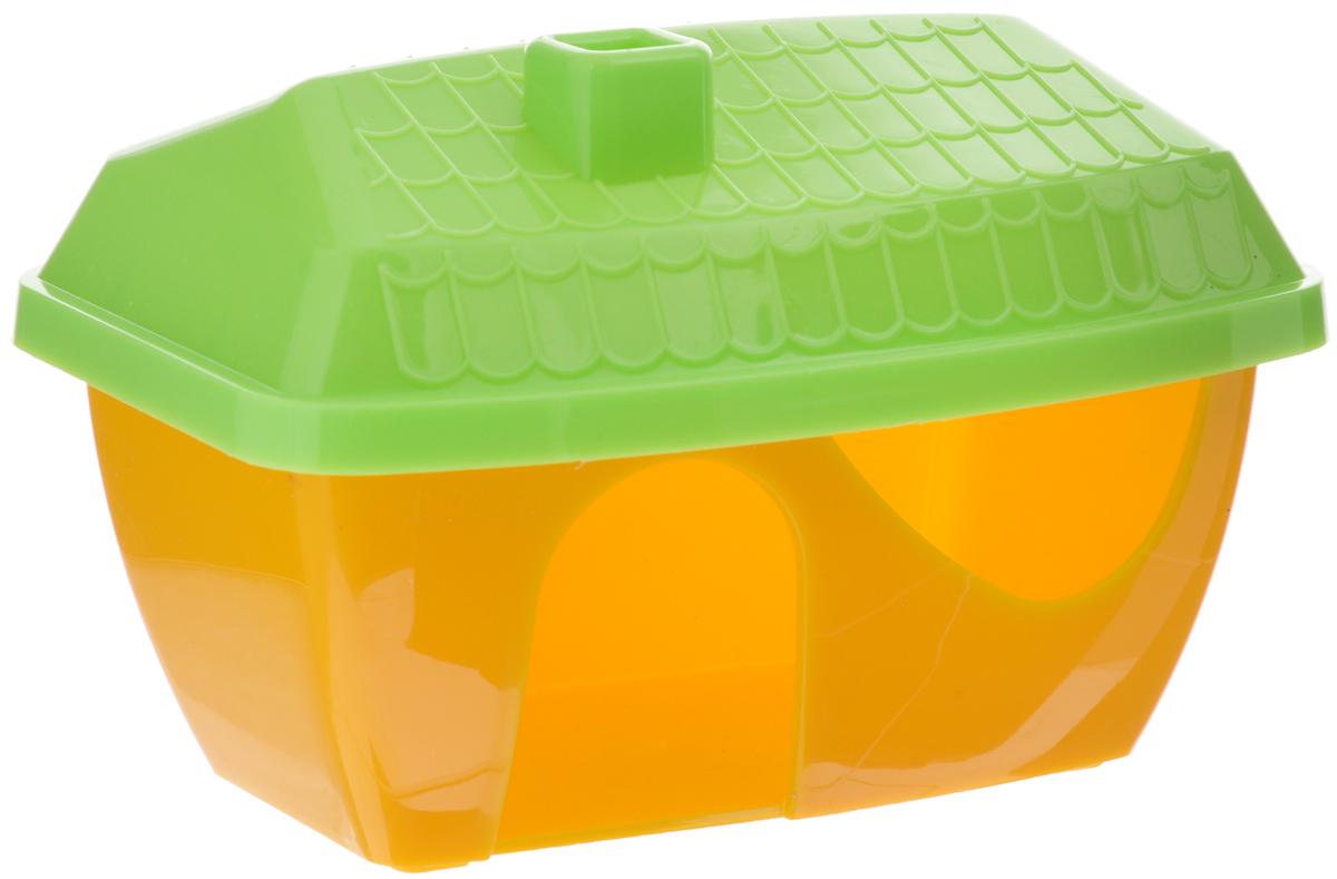 Домик для грызунов ЗооМарк, цвет: желтое основание, зеленая крыша, 16 х 11 х 10 см12171996Домик для грызунов ЗооМарк выполнен из цветного пластика, он полностью безопасен и безвреден для здоровья, не выделяет химических веществ, не впитывает запахи и отлично моется при помощи моющих средств. Каждый хомячок или мышка мечтают о собственной уютной спаленке. Вы можете предоставить своему любимцу такой полезный и практичный аксессуар. Для этого достаточно подобрать оригинальный качественный домик, который вписался бы в интерьер клетки. Домик обладает необычным дизайном с треугольной крышей яркой расцветки. Изделие оснащено удобным входом с миниатюрным козырьком. В своем закрытом уголке животное с удовольствием будет проводить время, сможет погрызть вкусняшку или просто отдохнуть.