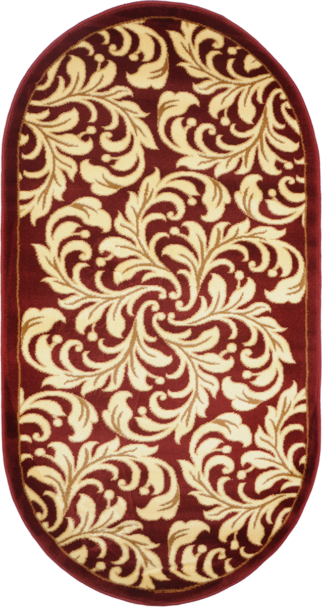 Ковер Kamalak Tekstil, овальный, 80 x 150 см. УК-032974-0120Ковер Kamalak Tekstil изготовлен из прочного синтетического материала heat-set, улучшенного варианта полипропилена (эта нить получается в результате его дополнительной обработки). Полипропилен износостоек, нетоксичен, не впитывает влагу, не провоцирует аллергию. Структура волокна в полипропиленовых коврах гладкая, поэтому грязь не будет въедаться и скапливаться на ворсе. Практичный и износоустойчивый ворс не истирается и не накапливает статическое электричество. Ковер обладает хорошими показателями теплостойкости и шумоизоляции. Оригинальный рисунок позволит гармонично оформить интерьер комнаты, гостиной или прихожей. За счет невысокого ворса ковер легко чистить. При надлежащем уходе синтетический ковер прослужит долго, не утратив ни яркости узора, ни блеска ворса, ни упругости. Самый простой способ избавить изделие от грязи - пропылесосить его с обеих сторон (лицевой и изнаночной). Влажная уборка с применением шампуней и моющих средств не противопоказана. Хранить рекомендуется в свернутом рулоном виде.