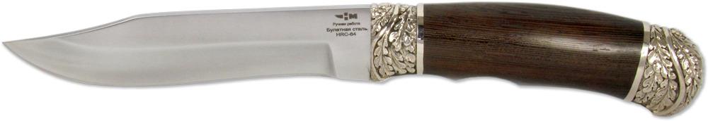 Нож Ножемир Комбат , булатная сталь, с ножнами, общая длина 27,5 см. (6334)бWR 5008_серыйНожемир Комбат - это отличный вариант рабочего ножа для тех, кто предпочитает ножи, которые не только работают, но и выглядят при этом достойно. Данный нож полностью соответствует этим характеристикам. Он имеет клинок из высокопрочного булата, форма которого приспособлена для решения различных задач. Изогнутая линия режущей кромки позволяет эффективно контролировать рез при работе по материалам различной плотности. Подъем режущей кромки к кончику позволяет делать ровные длинные разрезы, а кончик хорошо приспособлен для уколов. Рукоятка ножа оснащена небольшими выемками под пальцы, что обеспечивает полный контроль над ножом в процессе работы. Рукоять изготовлена из дерева венге и декорирована литыми элементами из мельхиора. Нож поставляется вместе с ножнами, которые незаменимы при использовании ножа в полевых условиях.Общая длина ножа: 27,5 см.