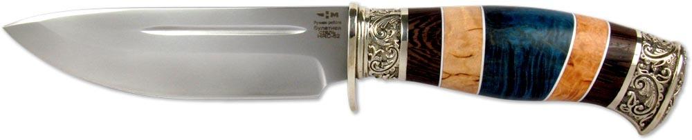 Нож Ножемир Румянцев, булатная сталь, с ножнами, общая длина 27,3 см. (5482)бC-167 НожемирНожемир Румянцев - это стильный и элегантный нож, которым хочется любоваться снова и снова. Сразу же обращает на себя внимание рукоять, которая изготовлена из древесины разных пород с красивым природным рисунком. Мельхиоровые элементы рукояти делают этот нож настоящим произведением искусства. Отдельно стоит сказать, что клинок ножа изготовлен из булатной стали. Нож обладает изумительной остротой и сохраняет заточку в течение длительного времени.В комплекте чехол для переноски и хранения.Общая длина ножа: 27,3 см.Твердость: 62-64 HRC.