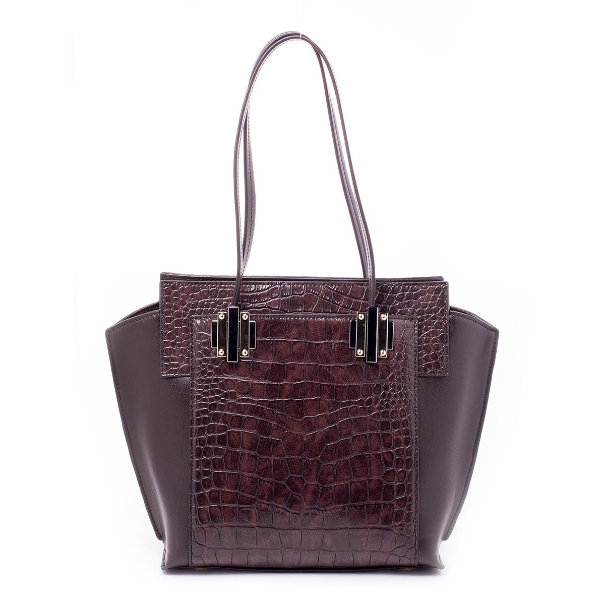 Сумка женская Renee Kler, цвет: коричневый. RF028-03A-B86-05-CСтильная женская сумка Renee Kler выполнена из качественной искусственной кожи. Поверхность сумки выполнена с декоративным тиснением.Сумка имеет одно отделение и застегивается на молнию. Внутри отделения находятся два накладных кармана и один врезной карман на застежке-молнии. С двух сторон сумка дополнена большими накладными карманами на магнитных кнопках. Сумка оснащена двумя удобными ручками на металлической фурнитуре.