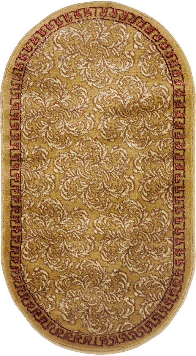 Ковер Kamalak Tekstil, овальный, 60 x 110 см. УК-0289ES-412Ковер Kamalak Tekstil изготовлен из прочного синтетического материала heat-set, улучшенного варианта полипропилена (эта нить получается в результате его дополнительной обработки). Полипропилен износостоек, нетоксичен, не впитывает влагу, не провоцирует аллергию. Структура волокна в полипропиленовых коврах гладкая, поэтому грязь не будет въедаться и скапливаться на ворсе. Практичный и износоустойчивый ворс не истирается и не накапливает статическое электричество. Ковер обладает хорошими показателями теплостойкости и шумоизоляции. Оригинальный рисунок позволит гармонично оформить интерьер комнаты, гостиной или прихожей. За счет невысокого ворса ковер легко чистить. При надлежащем уходе синтетический ковер прослужит долго, не утратив ни яркости узора, ни блеска ворса, ни упругости. Самый простой способ избавить изделие от грязи - пропылесосить его с обеих сторон (лицевой и изнаночной). Влажная уборка с применением шампуней и моющих средств не противопоказана. Хранить рекомендуется в свернутом рулоном виде.