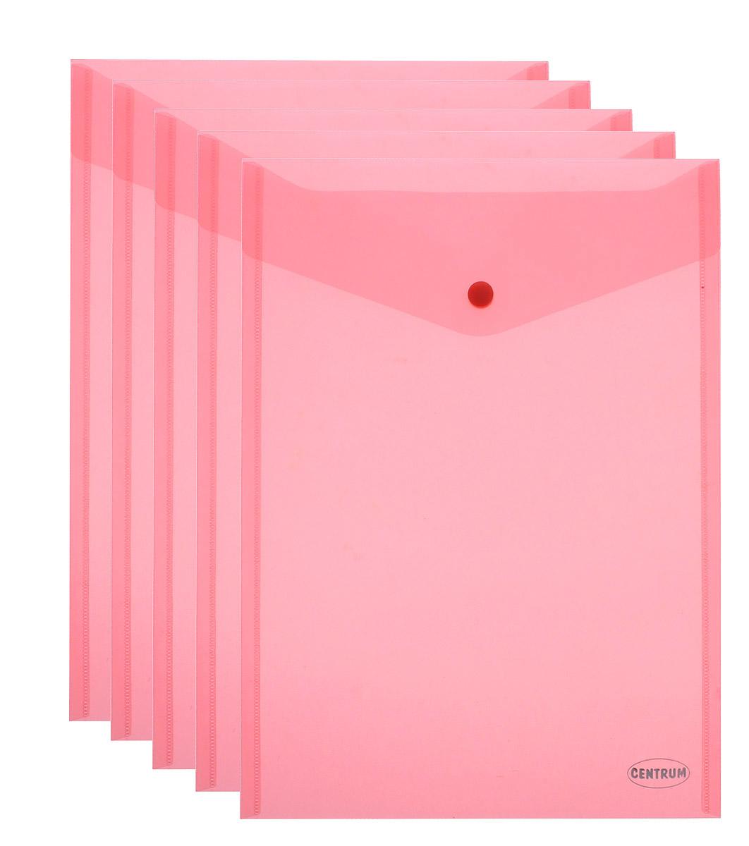 Centrum Папка-конверт на кнопке цвет коралловый формат А4 5 шт2010440Папка-конверт на кнопке Centrum - это удобный и функциональный офисный инструмент, предназначенный для хранения и транспортировки рабочих бумаг и документов формата А4. Папка изготовлена из полупрозрачного пластика, закрывается клапаном на кнопке. Вместимость папки - 250 листов. В комплект входят 5 папок разных цветов формата A4. Папка-конверт - это незаменимый атрибут для студента, школьника, офисного работника. Такая папка надежно сохранит ваши документы и сбережет их от повреждений, пыли и влаги.