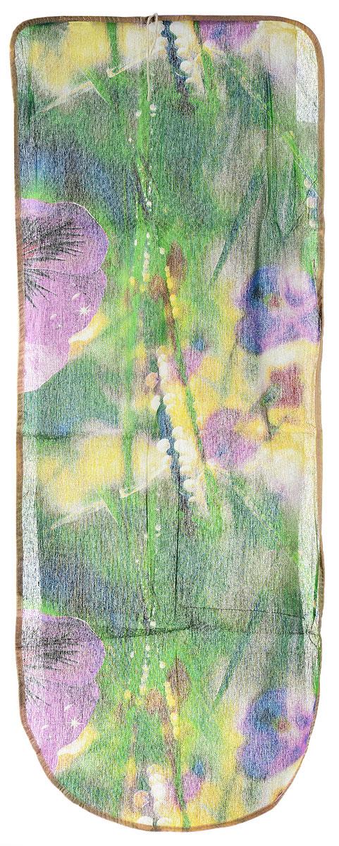 Чехол для гладильной доски Eva Грация, цвет: зеленый, фиолетовый, желтый, 125 х 47 см