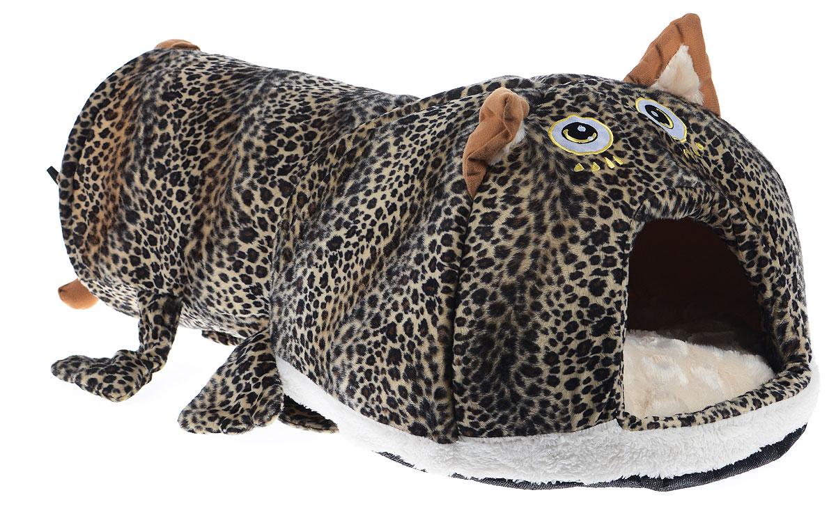 Домик для животных Pet Fun Кошка, 70 х 40 х 35 см113140Домик Pet Fun Кошка непременно станет любимым местом отдыха вашего домашнего животного. Он имеет оригинальный дизайн в виде кошки. Изделие выполнено из высококачественного текстиля, искусственного меха и поролона. Домик оснащен тоннелем с металлическим каркасом. В тоннеле расположена подвесная игрушка, которая привлечет внимание вашего питомца.Внутри имеется мягкая съемная подстилка.В таком домике вашему любимцу будет мягко и тепло. Он подарит вашему питомцу ощущение уюта и уединенности, а также возможность спрятаться.