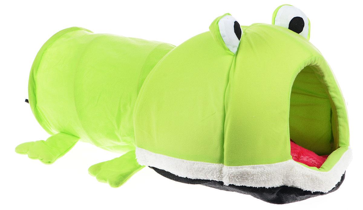 Домик для животных Pet Fun Лягушка, 70 х 40 х 35 см0120710Домик Pet Fun Лягушка непременно станет любимым местом отдыха вашего домашнего животного. Он имеет оригинальный дизайн в виде лягушки. Изделие выполнено из высококачественного текстиля, искусственного меха и поролона. Домик оснащен тоннелем с металлическим каркасом. В тоннеле расположена подвесная игрушка, которая привлечет внимание вашего питомца.Внутри имеется мягкая съемная подстилка.В таком домике вашему любимцу будет мягко и тепло. Он подарит вашему питомцу ощущение уюта и уединенности, а также возможность спрятаться.