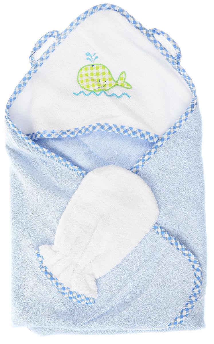 Фея Комплект для купания Кит цвет голубой белый 2 предмета -  Полотенца