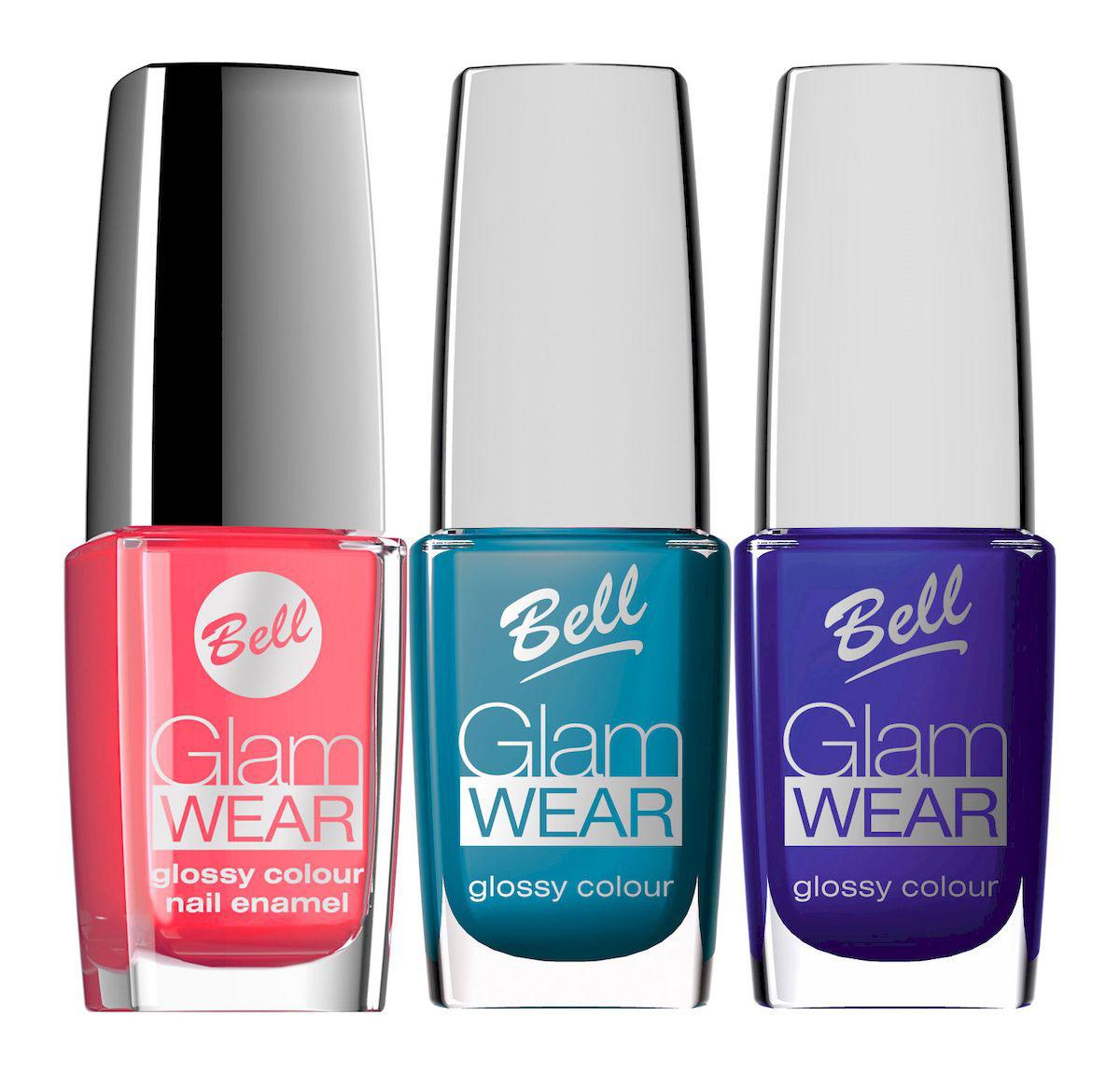 Bell Набор устойчивых лаков для ногтей с глянцевым эффектом Glam Wear Nail: тон №508, тон №513, тон №520, 30 млперфорационные unisexУстойчивый лак для ногтей.