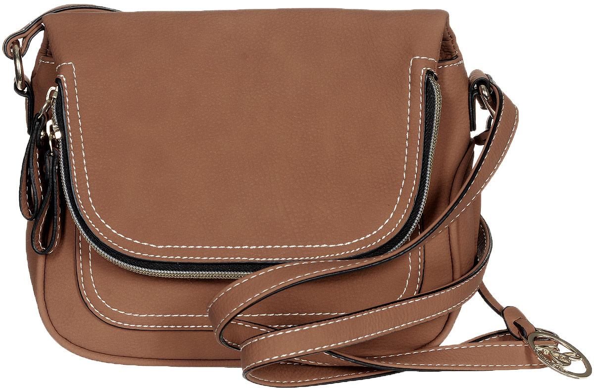 Сумка женская Jane Shilton, цвет: коричневый. 2172579995-400Стильная женская сумка Jane Shilton не оставит вас равнодушной благодаря своему дизайну и практичности. Она изготовлена из качественной искусственной кожи и оформлена контрастной прострочкой. На тыльной стороне расположен удобный вшитый карман на молнии. Сумка оснащена удобным плечевым ремнем, оформленным фирменной металлической подвеской. Длина плечевого ремня регулируется с помощью пряжки. Изделие закрывается клапаном на магнитную кнопку. Клапан оснащен внутреннимвместительным карманом, который закрывается на удобную молнию. Под клапаном расположен открытый накладной карман. Внутри расположено главное отделение, которое содержит один открытый накладной карман для телефона и один вшитый карман на молнии для мелочей. Такая модная и практичная сумка завершит ваш образ и станет незаменимым аксессуаром в вашем гардеробе.