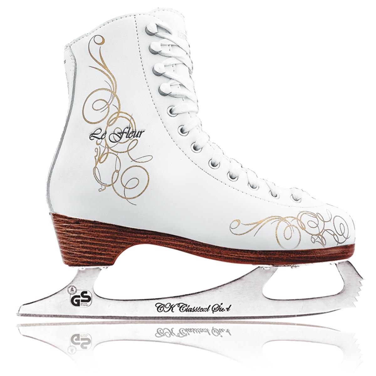 Коньки фигурные для девочки СК Le Fleur Leather 50/50, цвет: белый, золотой. Размер 30